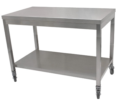 table inox centrale et plan de travail inox pour. Black Bedroom Furniture Sets. Home Design Ideas